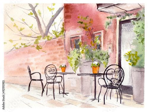 Kawiarnia uliczna. Projekt retro. Akwarela