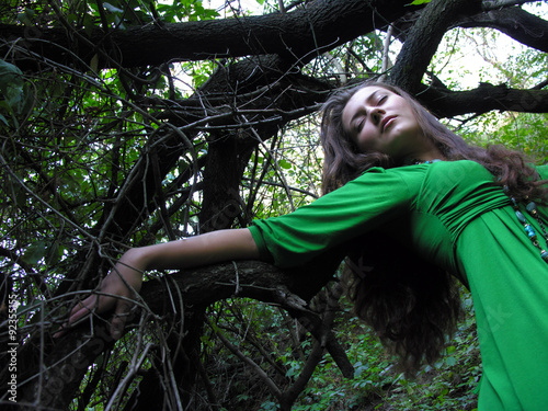 Fotografie, Tablou young attractive woman in the wild forest,conceptual portrait
