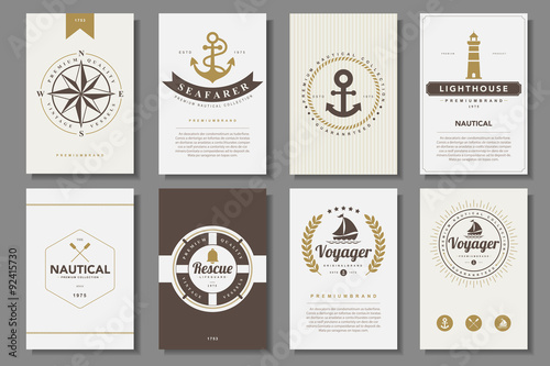 Leinwand Poster Set of  nautical brochures in vintage style