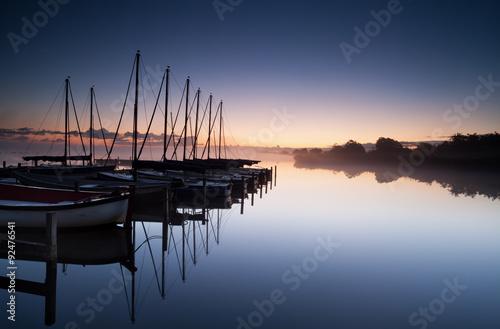 Tablou Canvas yacht harbor at sunrise