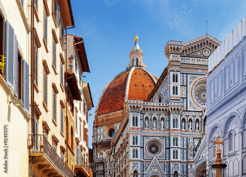 Canvastavla The Florence Cathedral at historic center of Florence, Italy