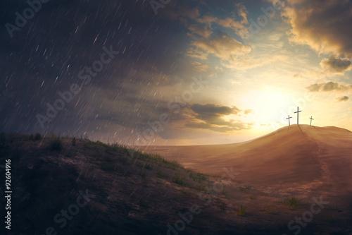 Εκτύπωση καμβά Crosses in the desert