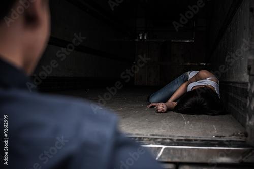 Kidnapped girl in the truck Fototapete