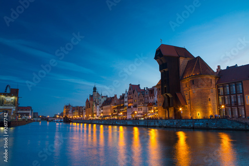 Harbor at Motlawa river with old town of Gdansk in Poland.