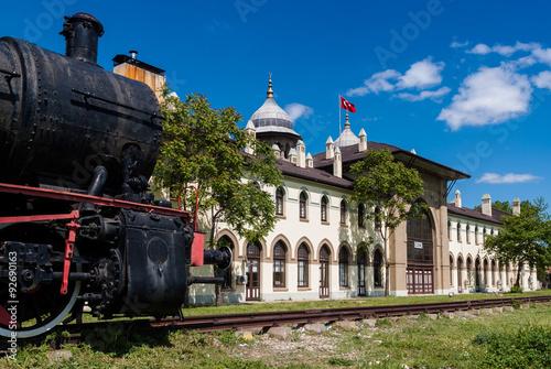 Canvas Print Historic railway station in Karaagac, Edirne, Turkey
