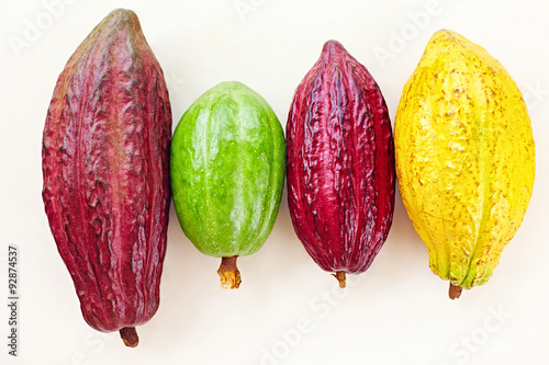 Stampa su Tela different sorts of colorful cocoa pods on white