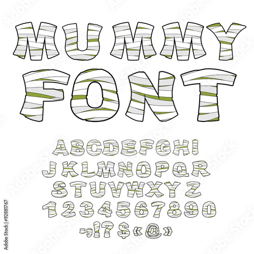 Fotografie, Tablou Mummy font. Alphabet in bandages. Monster zombie Letters of  Lat