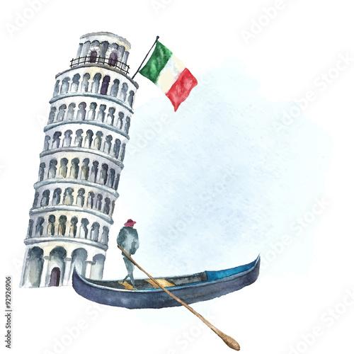 Obraz na płótnie Set of Italy icons watercolor illustration.