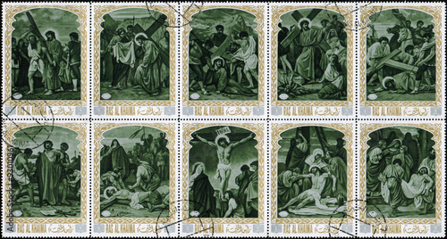 Obraz na plátně Ras al Khaimah - CIRCA 1972: mail stamp printed in Ras al Khaimah the court, carrying the cross, crucifixion, descent from the cross and burial of Jesus Christ
