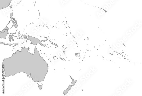 Wallpaper Mural Ozeanien - Karte in Grau