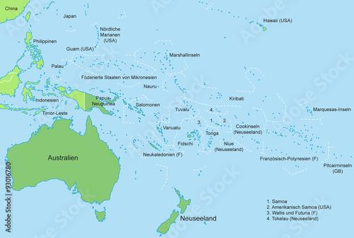 Wallpaper Mural Ozeanien - Karte in Grün