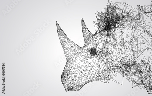 Fototapeta rhino stylized low poly wire construction concept concepts connection