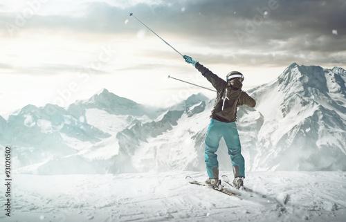 Canvas Print Happy Skier