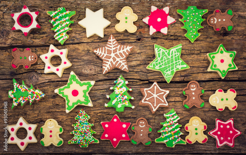 Christmas cookies on the wooden background  #93045968