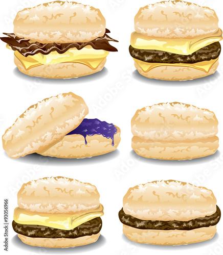 Fotografie, Obraz Illustration of six assorted breakfast biscuit sandwiches.