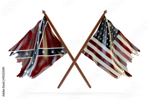 Foto American civil war and merorial day concept, usa and confederate tattered flags