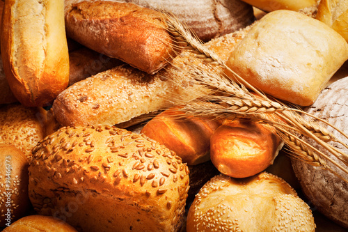 assortment of baked bread with wheat #93466773