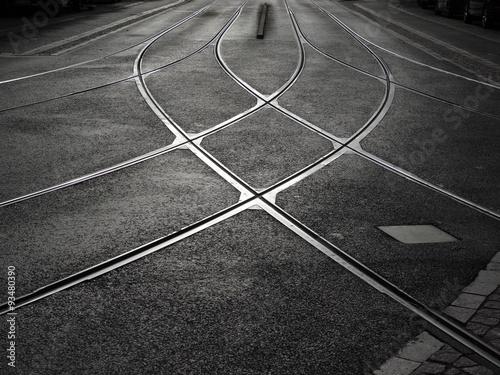 Przejazd kolejowy tramwajem Fototapeta