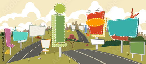 Canvas Print Cartoon road with billboards. Ad signs.