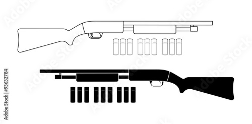 Carta da parati Shotgun with bullets. Contour. Black