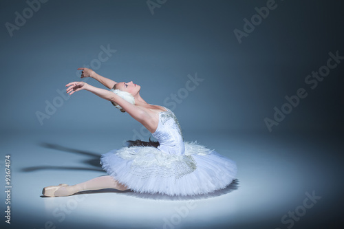 Canvas Print Portrait of the ballerina in ballet tatu on blue background