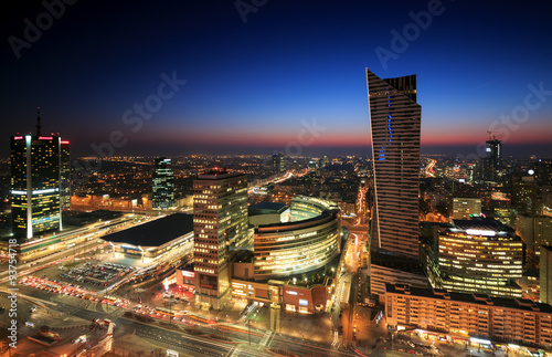 Warsaw city center at sunset #93754718