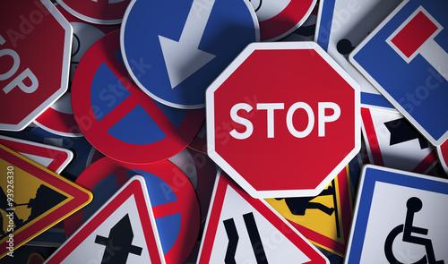 Panneaux de signalisation vue de face, code de la route. #93926330