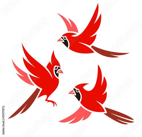 Cuadros en Lienzo Stylized Bird - Northern Cardinal