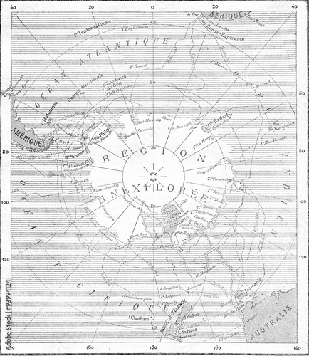 Photo Map of the South Pole, vintage engraving.