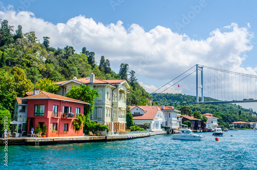 Obraz na płótnie both shores of bosphorus strait are full of residential houses which local people use as weekend residences