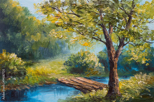 Oil painting landscape - colorful summer forest, beautiful river