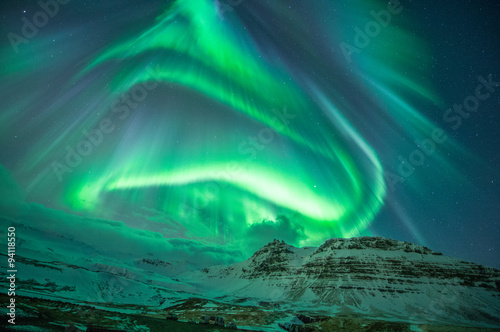 Canvas Print The aurora borealis (northern light) at Snæfellsnes Peninsula, Iceland
