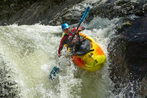 Wallpaper Mural kayak raft river whitewater water waterfall white extreme sport rapid waterfall
