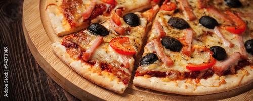 Ham pizza close up letterbox #94273149