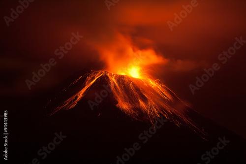 volcano erupted lava volcanic sky active rock night ecuador landscape mountains Fototapeta