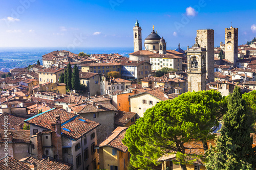 Canvas Print landmarks of Italy - beautiful medieval town Bergamo, Lombardy,