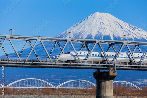 Stampa su Tela View of Mt Fuji and Tokaido Shinkansen, Shizuoka, Japan..