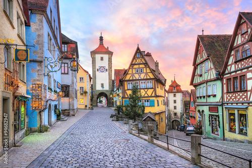 Obraz na plátne Colorful half-timbered houses in Rothenburg ob der Tauber, Germa