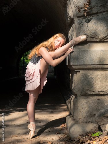 Fotografia Young beautiful ballerina dancing in Central Park in New York.
