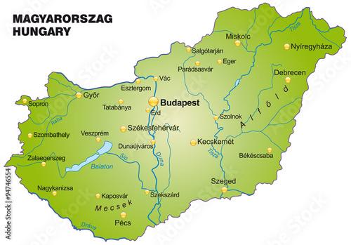 Canvas Karte von Ungarn