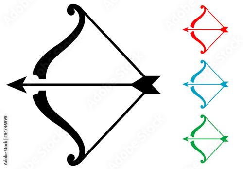 Canvas Print Pictograma arco y flecha varios colores