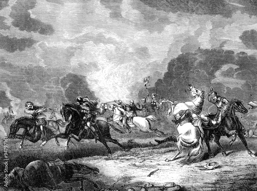 Obraz na plátne An engraved illustration image of  the Battle of Naseby during the English Civil