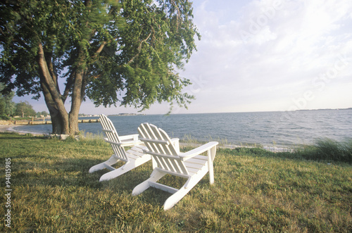 Canvas Print Two Adirondack chairs overlooking the Chesapeake Bay, MD