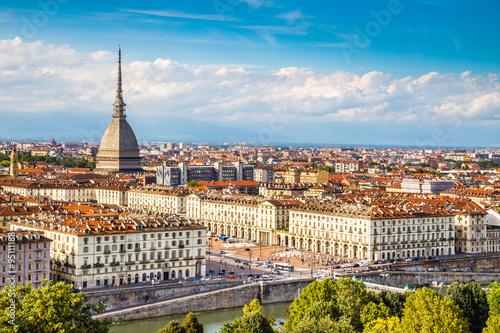Fototapeta View of Turin centre with Mole Antonelliana-Italy