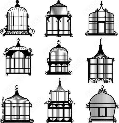 Fotografie, Tablou set of 9 vintage birdcages