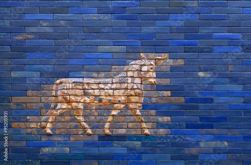 Tableau sur Toile Aurochs from blue Ishtar Gate of Babylon