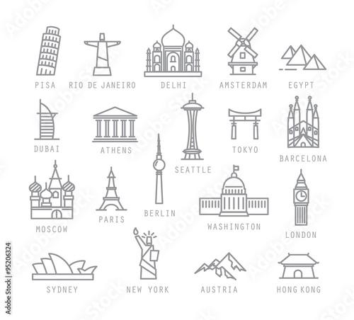 Wallpaper Mural City flat icons