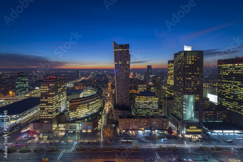 Warsaw downtown during the night #95215945