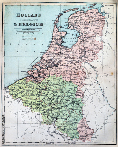 Canvas Print Map of 19th Century Holland and Belgium