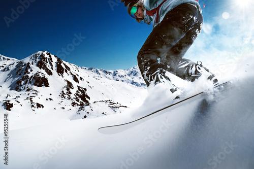 Wallpaper Mural Snowboarder going downhill